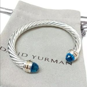 DAVID YURMAN 7mm Sterling Silver & 14k Blue Topaz